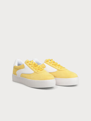 Baskets semelles compensees jaune clair femme