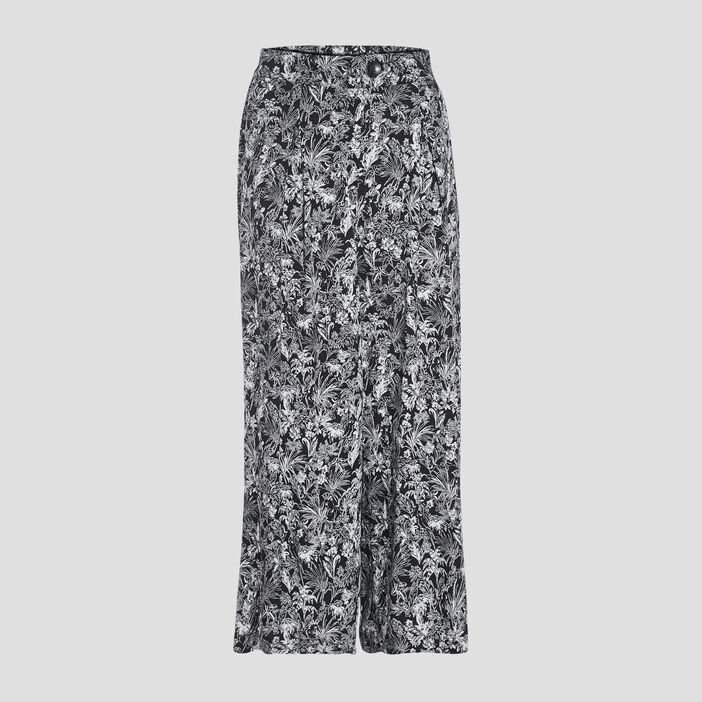 Pantalon large fluide noir femme