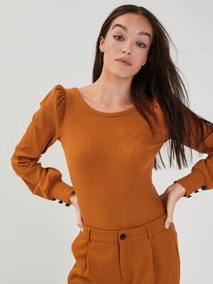T shirt manches longues camel femme