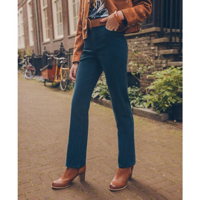 Pantalon regular effet velours vert canard femme