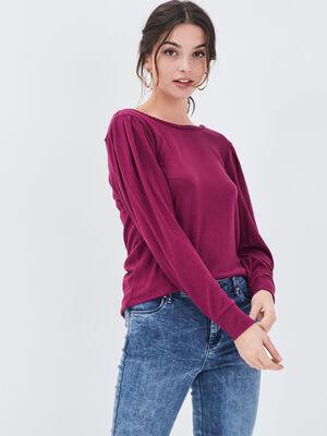 T shirt manches longues prune femme