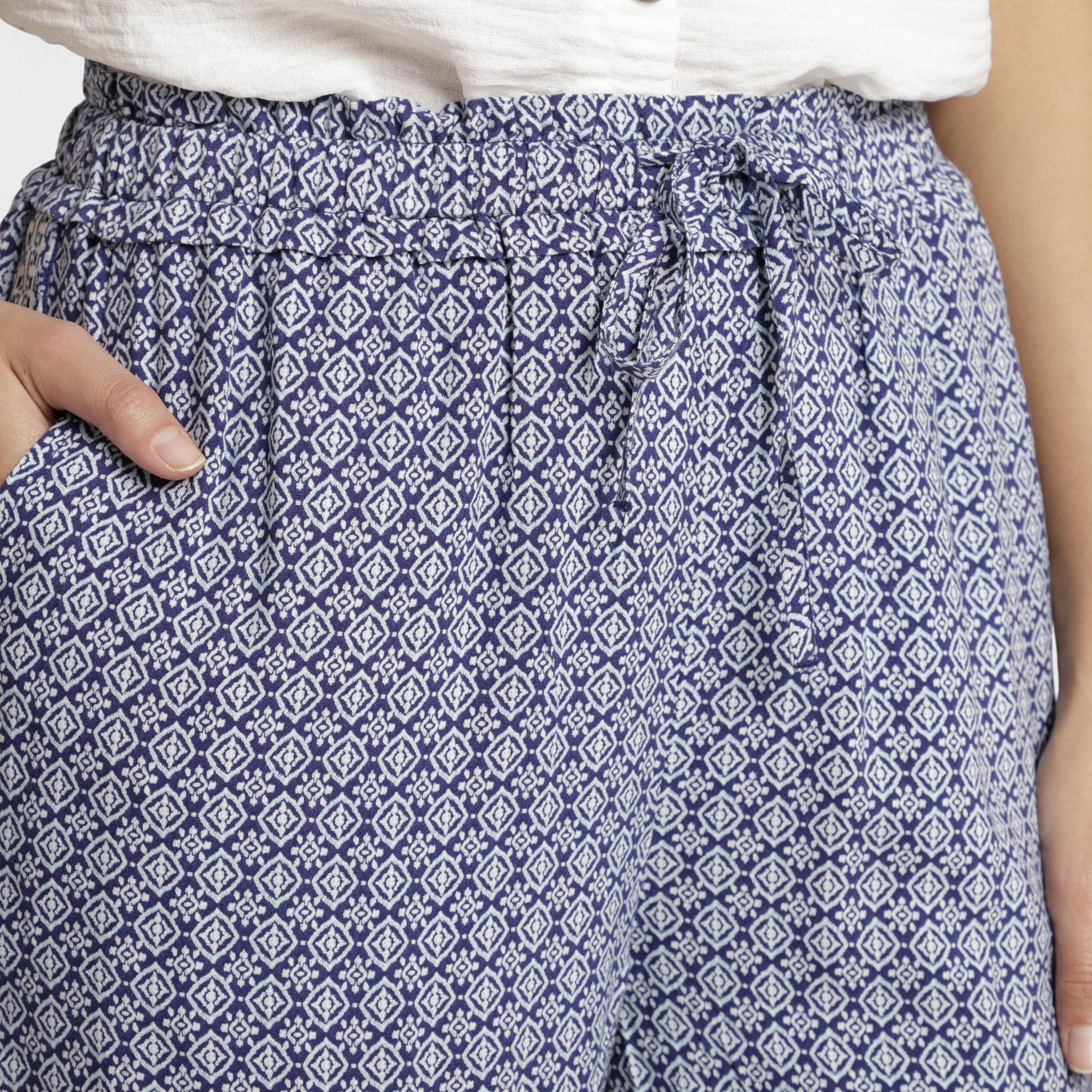 Marine Imprimé Côté Bande FemmeVib's Bleu Fluide Pantalon OknPw80