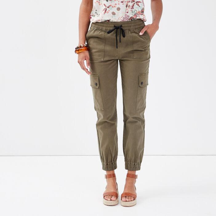 Pantalon battle vert kaki femme