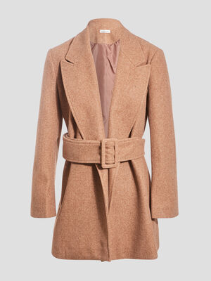 Manteau evase ceinture marron clair femme