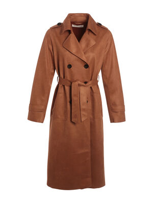 Trench droit a boutons camel femme