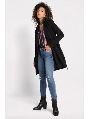 Trench a capuche amovible noir femme
