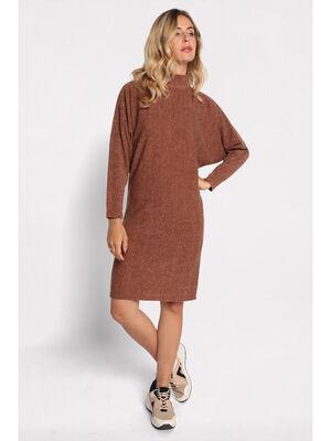 Robe courte droite maille marron femme