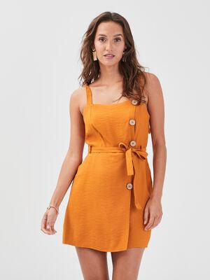 Combishort droite boutons orange clair femme
