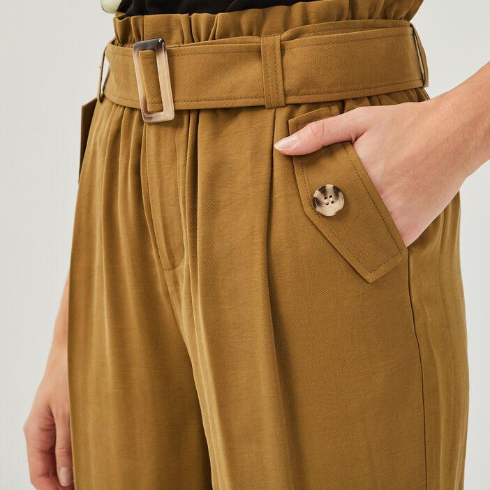 Pantalon paperbag fluide vert olive femme