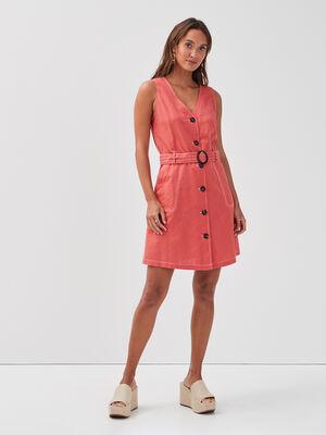 Robe evasee boutonnee lin rose femme