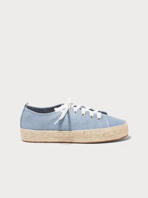 Baskets compensees pailletees denim bleach femme
