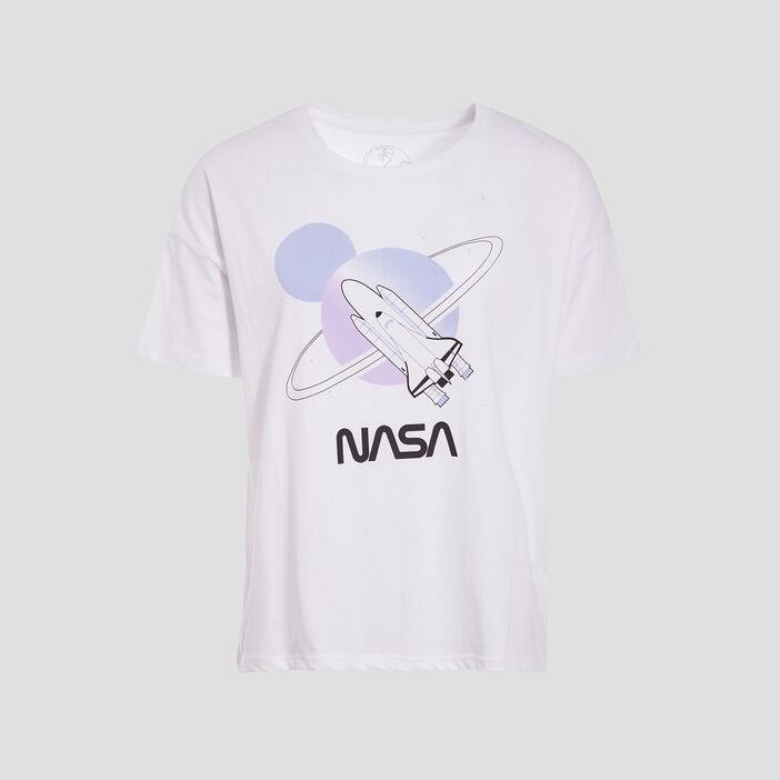 T-shirt manches courtes NASA blanc femme