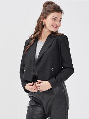 Veste droite courte noir femme
