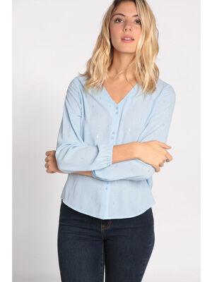 Chemise manches longues col V bleu lavande femme