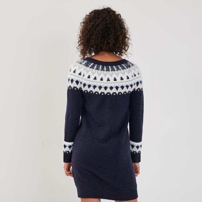 Robe pull droite bleu marine femme