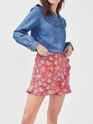 Jupe short droite avec volants rouge femme