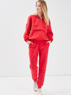 Pantalon jogging molletonne rouge fluo femme