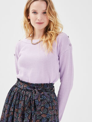 Pull boutons aux epaules violet clair femme