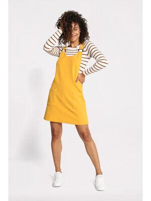 Robe salopette a anneaux jaune moutarde femme