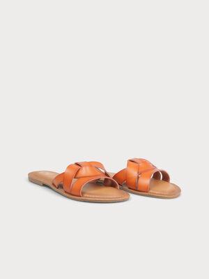 Sandales plates multibrides camel femme