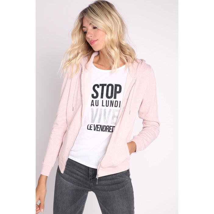 vente limitée quantité limitée meilleures baskets Sweat zippé capuche rose clair femme   Vib's