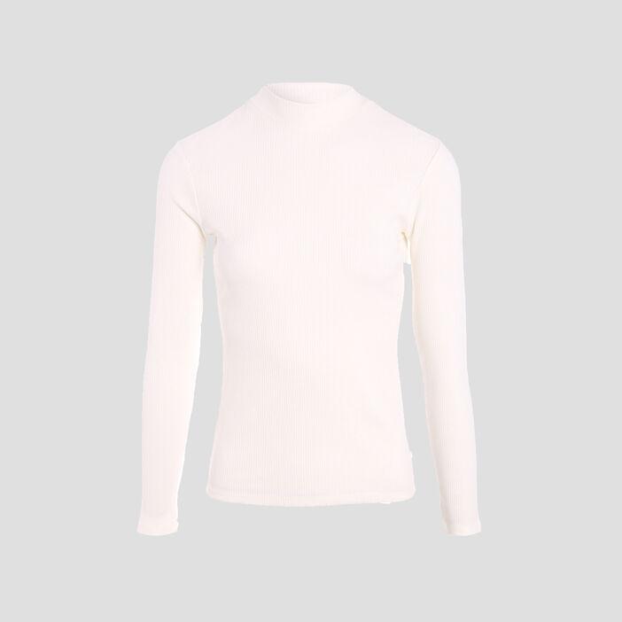 T-shirt maille côtelée ecru femme