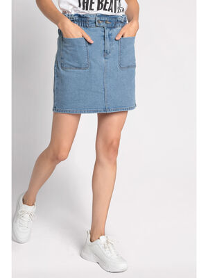 Jupe droite 4 poches en jean bleu femme