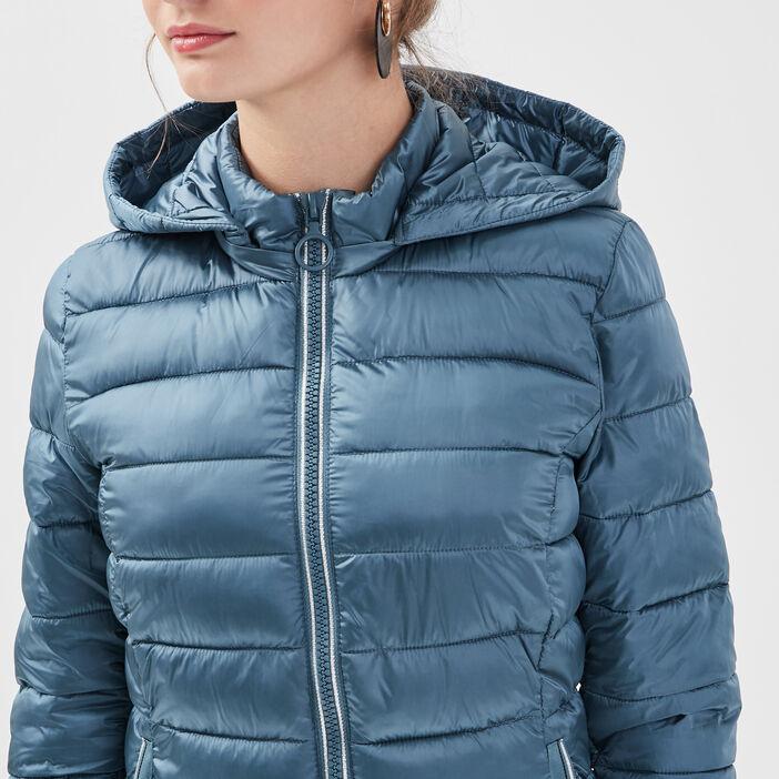 Doudoune droite zippée capuche bleu pétrole femme