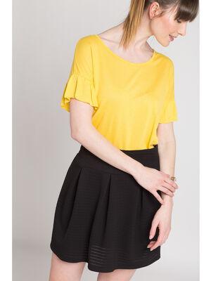 T shirt manches courtes a volants jaune citron femme