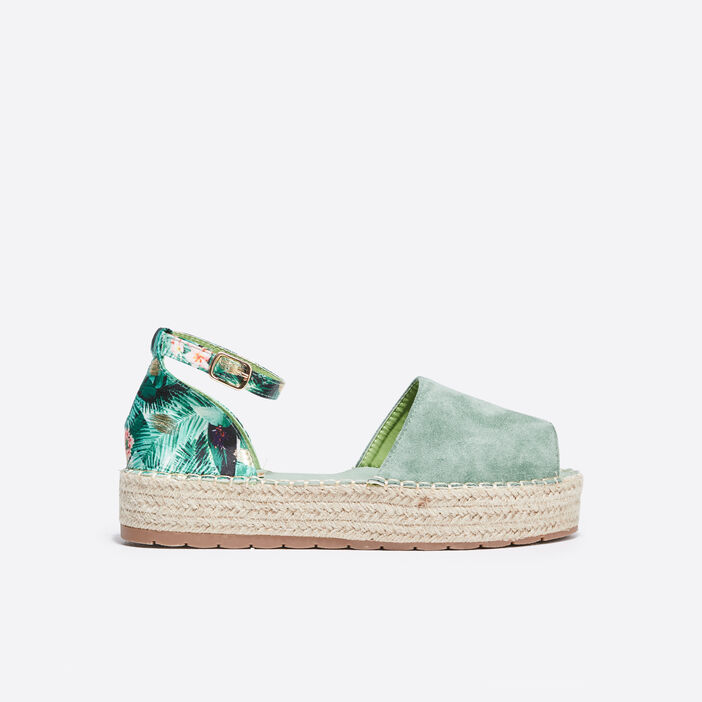 Sandales plateformes vert clair femme