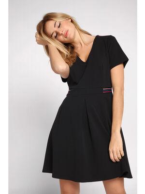 Robe courte evasee plis creux noir femme