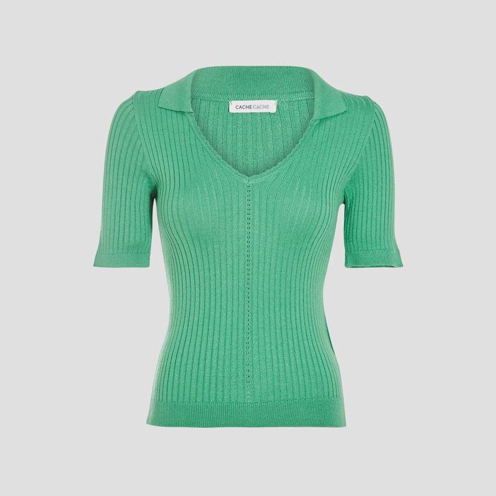Pull avec effet côtelé vert menthe femme