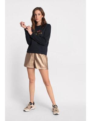 Short dore simili cuir couleur cuivre femme