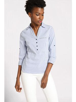Chemise manches 34 cintree bleu ciel femme