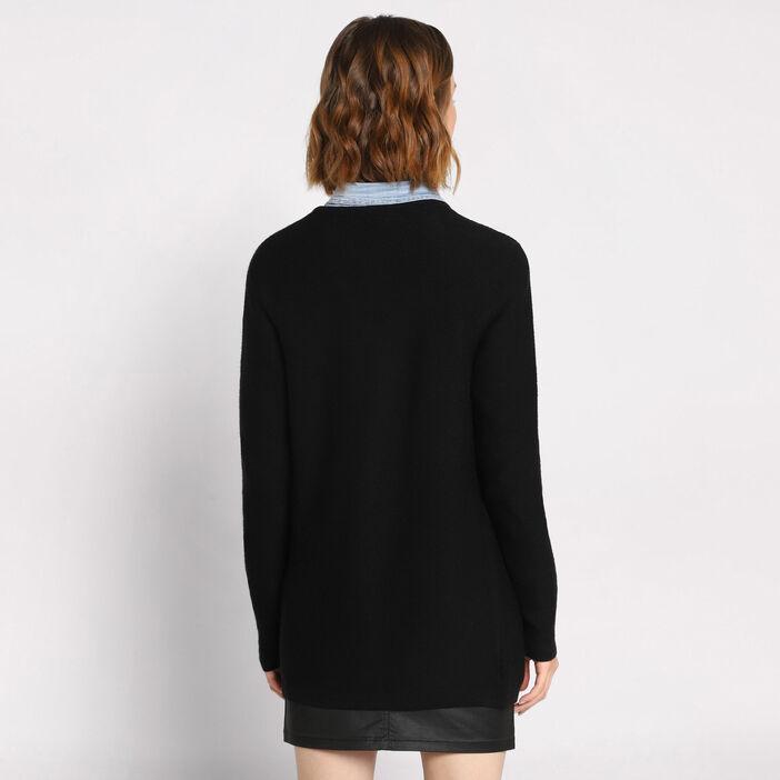Gilet manches longues à poches noir femme
