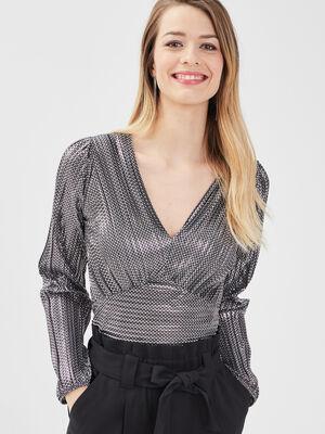 T shirt manches longues gris argent femme