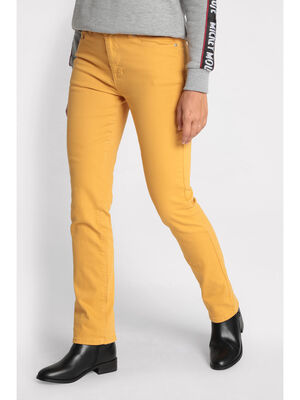 Jeans droit jaune or femme