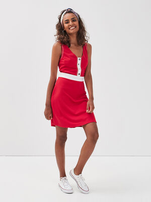 Robe evasee sans manches rouge femme