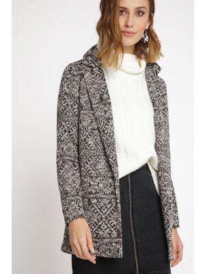 Manteau droit leger en jacquard blanc femme
