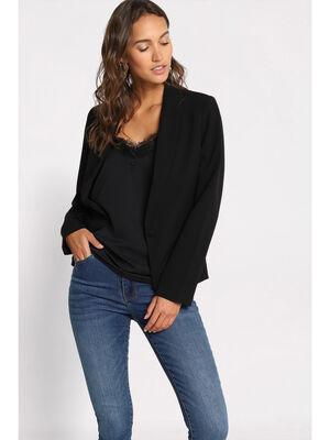 Veste blazer cintree noir femme