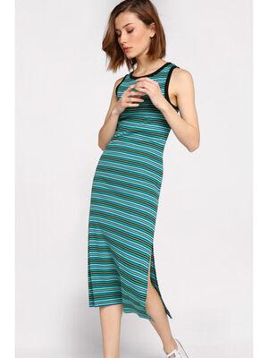 Robe longue ajustee col rond vert femme