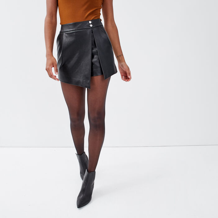 Jupe-short droite noir femme