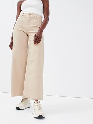 Jeans wide leg taille haute sable femme