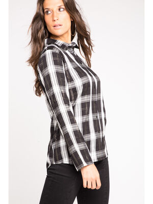 Chemise manches longues a motifs irises blanc femme