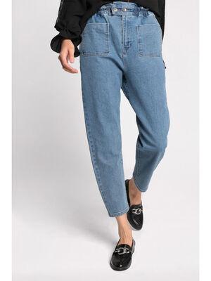 Jeans mom taille haute bleu femme