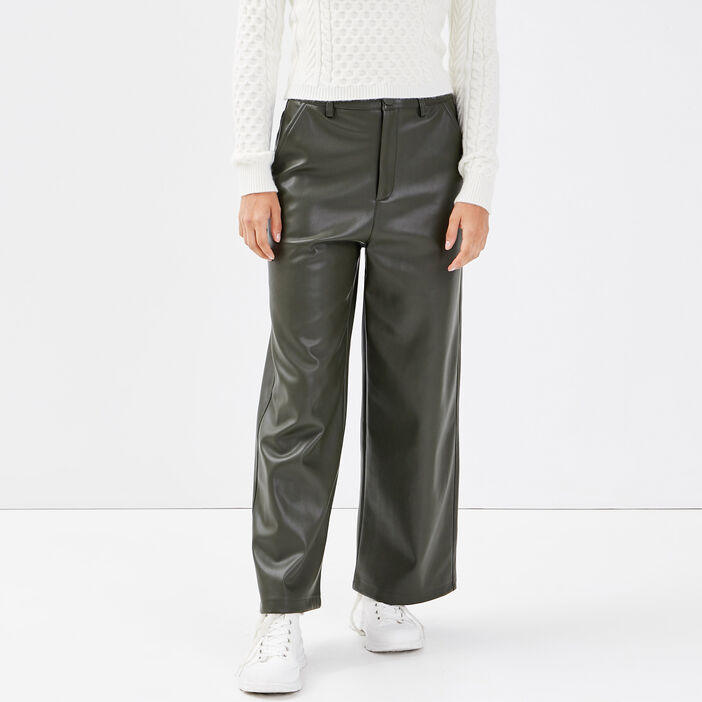 Pantalon bootcut taille haute vert kaki femme