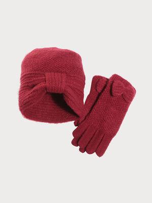 Lot gants et bonnet tricotes rouge femme