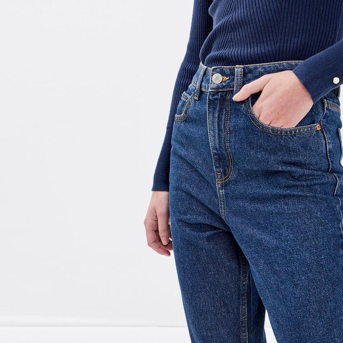 Jeans mom taille haute denim stone femme