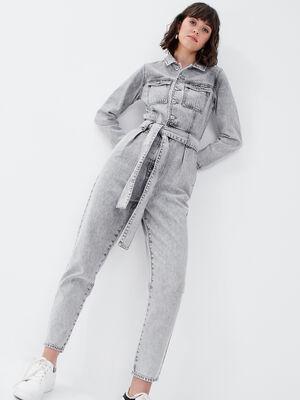 Combinaison pantalon en jean denim gris femme
