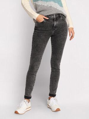 Jeans skinny effet delave denim snow gris femme